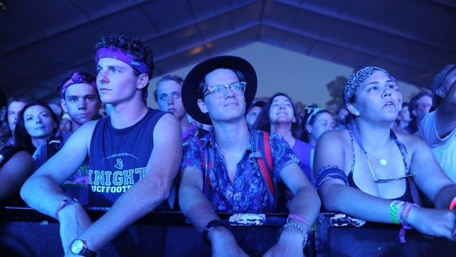 Fans listen to Leon Bridges perform in the Other Tent during Bonnaroo Music and Arts Festival on Friday, June 10, 2016, in Manchester, Tenn.