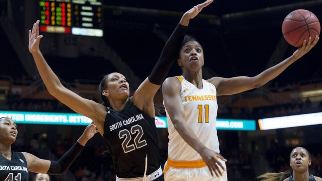 Tennessee's Diamond DeShields attempts to score while defended by South Carolina's A'ja Wilson at Thompson-Boling Arena on Monday, February 15, 2016.  (SAUL YOUNG/NEWS SENTINEL)