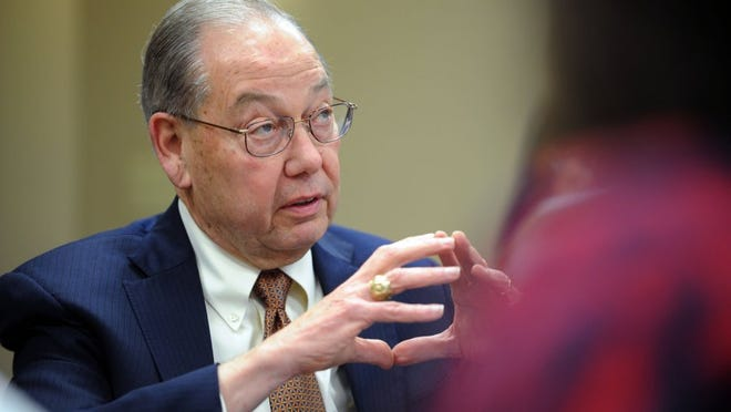 Chancellor Jimmy Cheek speaks to leaders of the Diversity Matters coalition during the coalition's second meeting with administrators at the Frieson Black Cultural Center at University of Tennessee on Tuesday, March 1, 2016. (CAITIE MCMEKIN/NEWS SENTINEL)