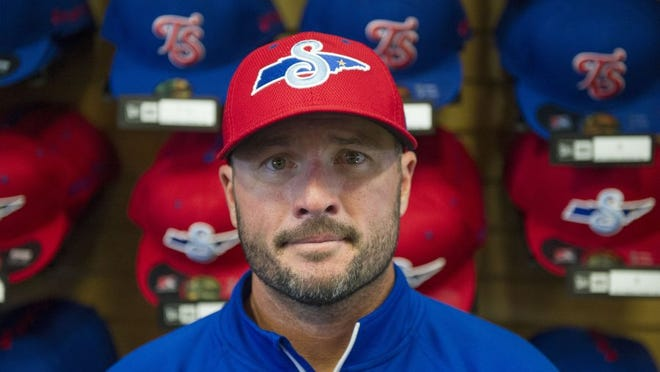 CAITIE MCMEKIN/NEWS SENTINEL New Tennessee Smokies manager Mark Johnson poses for a photo during media day at Smokies Stadium in Sevierville on Tuesday.
