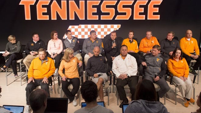 University of Tennessee head coaches gathered for a news conference on Tuesday, February 23, 2016. Front row, from left, are Ralph Weekly, Karen Weekly, Brian Pensky, Dave Serrano, Sam Winterbotham, and Judi Pavon. Back row, from left, are Holly Warlick, Butch Jones, Beth Alford-Sullivan, Matt Kredich, Dave Parrington, Rick Barnes, Lisa Glenn, Jim Kelson, Mike Patrick, and Rob Patrick. The coaches gathered to speak out against the perceptions that the university is a hostile sexual environment. (SAUL YOUNG/NEWS SENTINEL)
