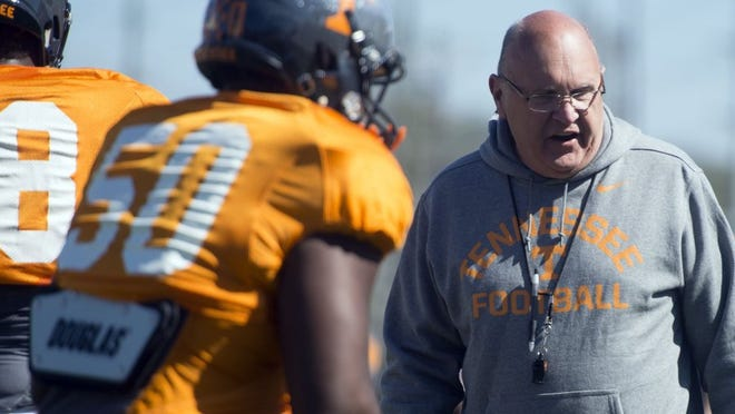 Tennessee offensive coordinator Mike DeBord during practice on Tuesday, April 5, 2016. (SAUL YOUNG/NEWS SENTINEL)