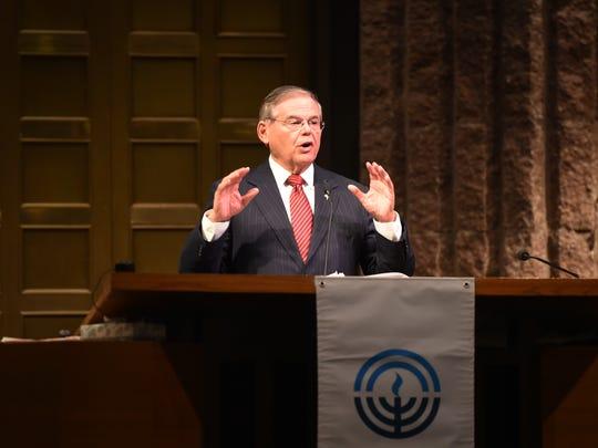 U.S. Sen. Bob Menendez speaks during a rally for gun
