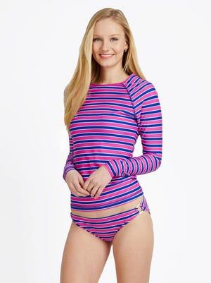 Sea Stripe swim shirt, $75, and bottoms, $60, at vineyardvines.com.