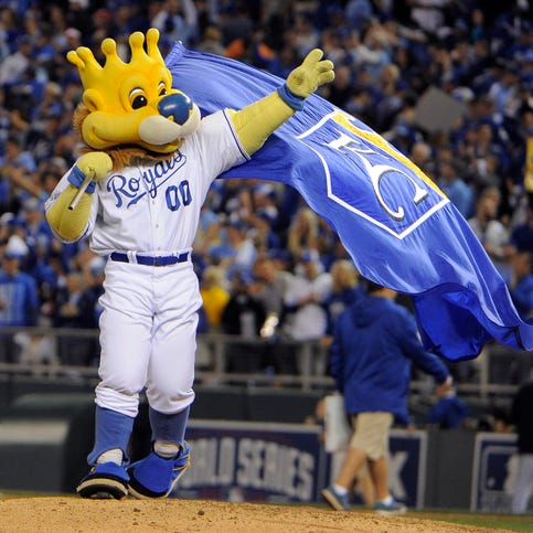 Game 2 in Kansas City -- Royals 7, Giants 2: Royals mascot waves a flag after defeating the Giants.