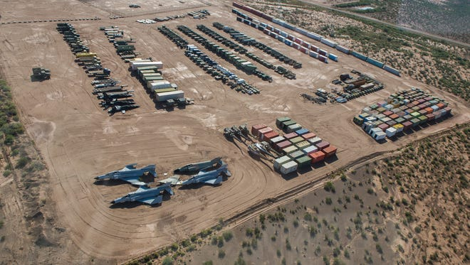 Targets sit on the Oscura Range at Holloman Air Force Base on Oct. 20. The Oscura range is a small air-to-ground range used primarily for training purposes. Holloman is home to three ranges used for live-fire munition drops. The ranges are used by student pilots at Holloman, as well as Tactical Air Control Party Airmen from Fort Bliss and units that are on a Temporary Duty Assignment.