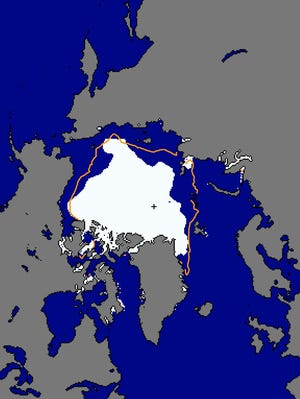 The area in white shows the area of Arctic sea ice as of Sept. 10. The orange line indicates the average area at this time of year, based on data from 1981-2010.