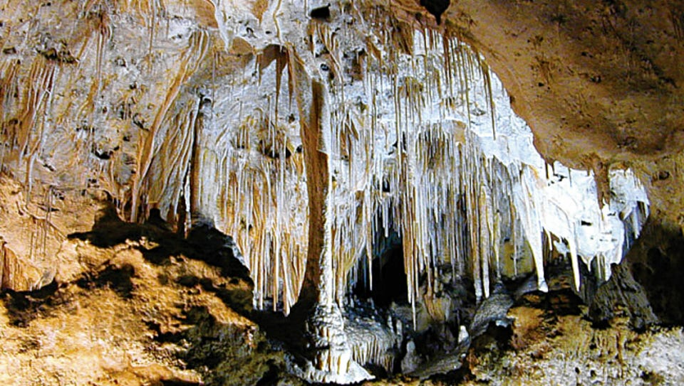 Carlsbad Caverns underground is filled with stalagmites
