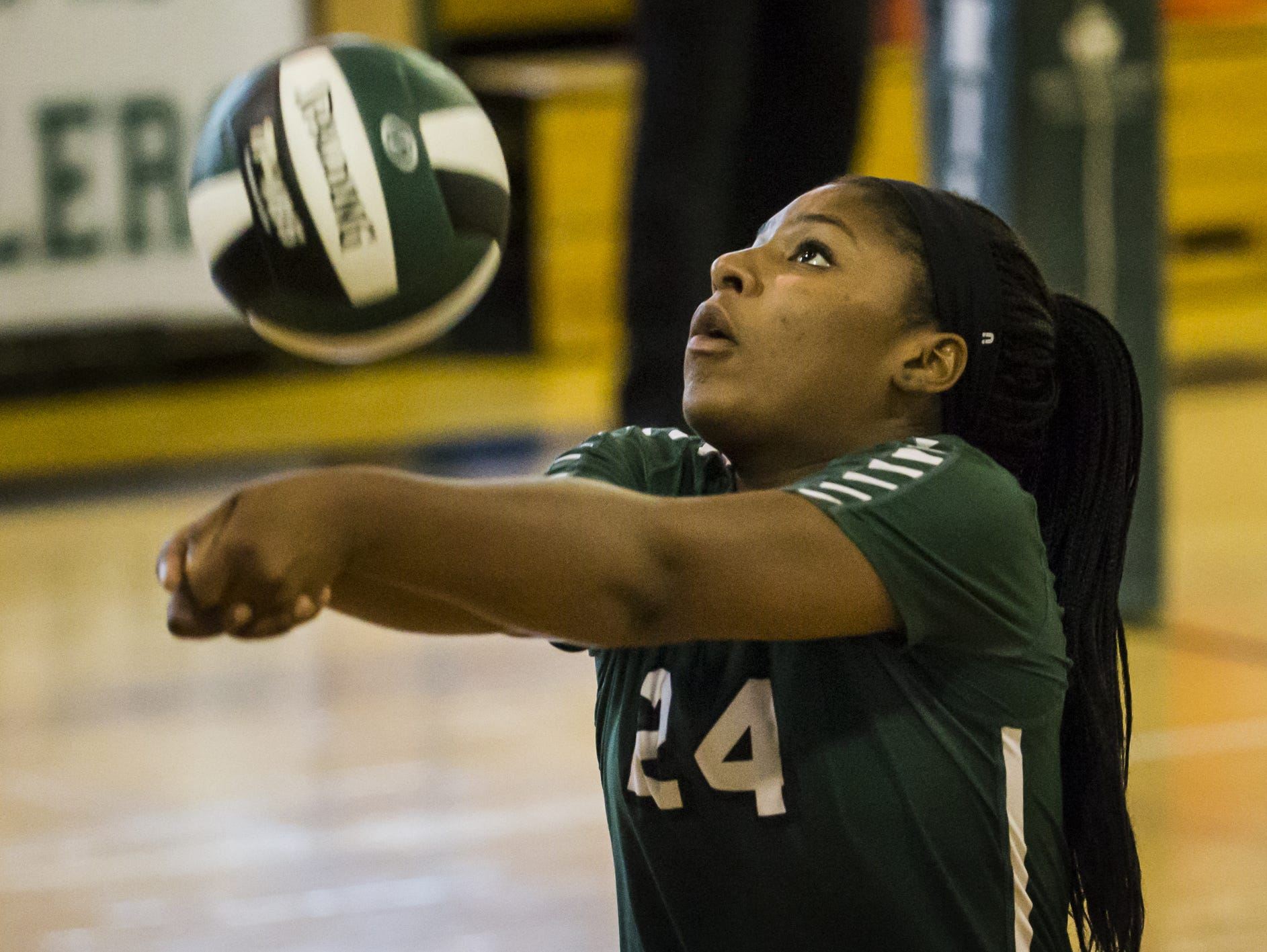 Tower Hill's Ashleigh Brady sets the ball against Tatnall on Oct. 18. The Hillers earned the No. 1 seed in the DIAA Volleyball Tournament, and will begin postseason play on Saturday.
