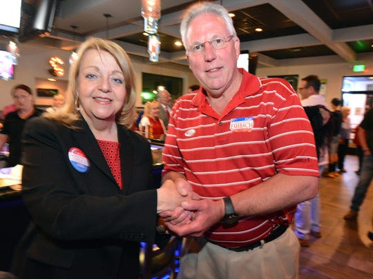 District Attorney candidate Jonelle Eshbach and York County Sheriff Richard P. Keuerleber wait results at The Vault in Weigelstown, Tuesday May 16, 2017.  John A. Pavoncello photo