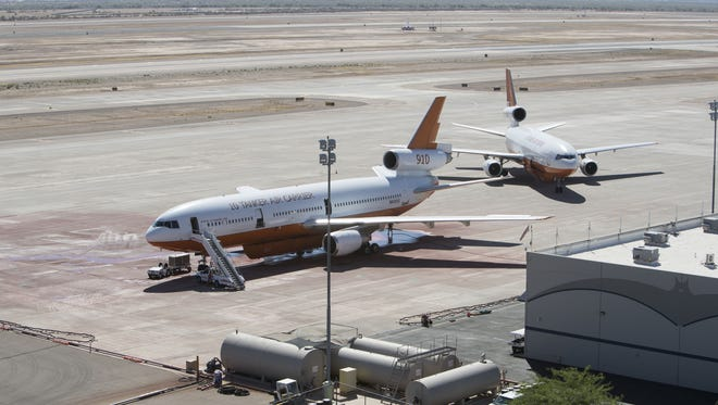 Fire tankers shown at Phoenix-Mesa Gateway Airport June 29, 2017.  According to a 2013 Arizona State University study, the airport has a $1.3 billion annual impact and supports more than 10,000 jobs in the region.