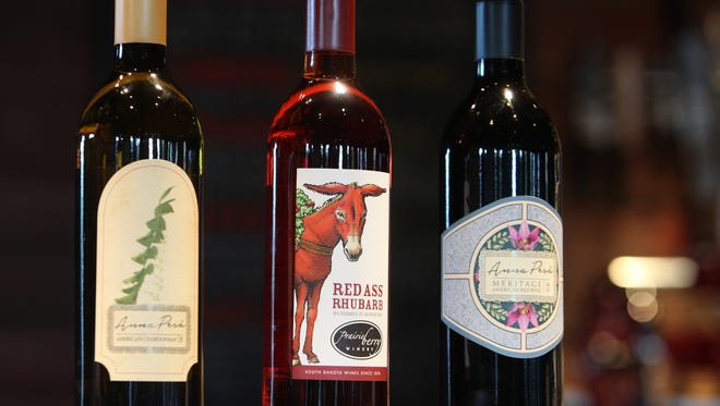 Anna PesŠ Chardonnay (left to right), Red Ass Rhubarb and Anna PesŠ Meritage at Prairie Berry East Bank in downtown Sioux Falls.