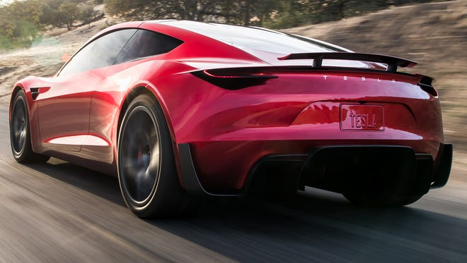 From the rear, the Tesla Roadster