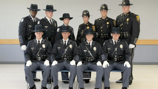 Wicomico County law enforcement officers who graduated in the 76th entrance-level law enforcement class of the Eastern Shore Criminal Justice Academy operated by Wor-Wic Community College in Salisbury are shown in the front row, from left, Jonathan C. Adams, Christopher A. Denny Jr., Tyler F. Gillespie and Antonio A. Gutierrez II of the Salisbury Police Department. In the back, from left, are William L. Parker III, Nathan J. Schrlau and Candice T. Smith of the Salisbury Police Department, and Anna M. Bowie, Marc V. Douglas and Brandon R. Scott of the Wicomico County Sheriff's Office.