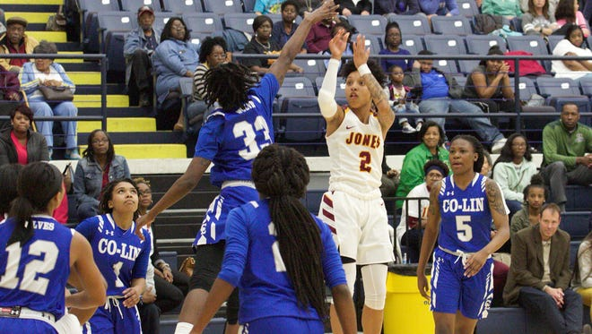 JCJC's Alexis Tolefree (2) fires up a jump shot Friday vs. Copiah-Lincoln in the Region 23 Tournament championship game.