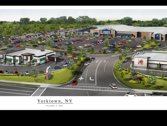 A rendering of the Lowe's, which opens on Thursday in Yorktown, in a shopping plaza that's expected to include at least one restaurant.