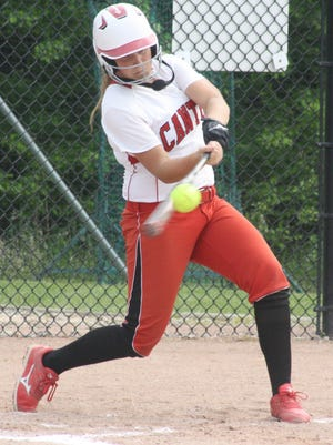 Canton's Maddie Stowe hits the ball during Tuesday's second inning against Westland John Glenn.
