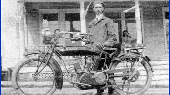 Fred LaMotte of Red Lion stands behind his Indian Motorcycle.