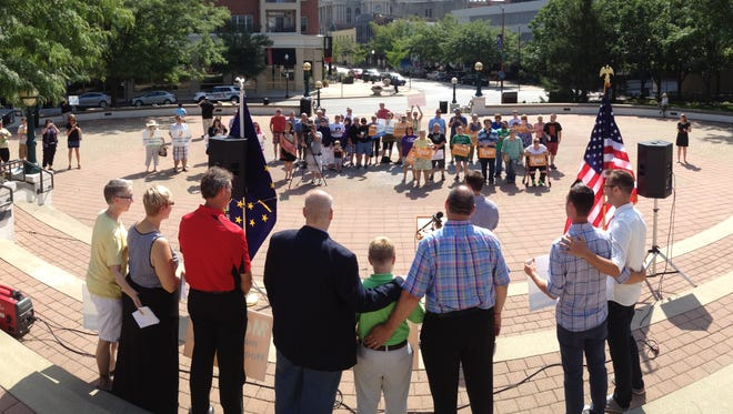 Supporters of a challenge of Indiana's ban on same-sex marriage rallied Monday morning at Riehle Plaza in downtown Lafayette. On Tuesday, the 7th U.S. Circuit Court of Appeals will hear arguments about Indiana's law, which a federal judge ruled was unconstitutional on June 25. Since then, the state won a stay.
