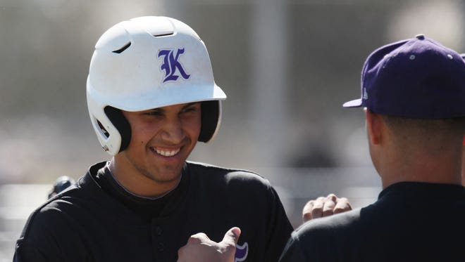 Sean Roby, of Shadow Hills High School, celebrates his home run against Desert Hot Springs High School at Desert Hot Springs. Shadow Hills won the game.