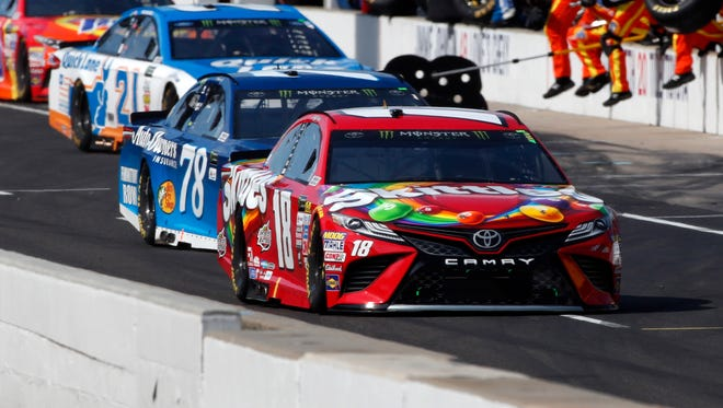 Kyle Busch (18) and Martin Truex Jr. (78) were the two most dominant cars in Sunday's Brickyard 400 but crashed during a restart in Stage 3.