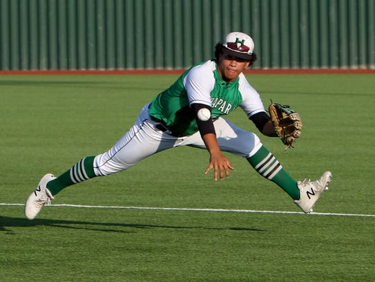 Iowa Park's Chris Dickens catches the groundball against