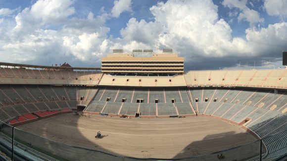 Neyland Stadium shown without its playing surface.