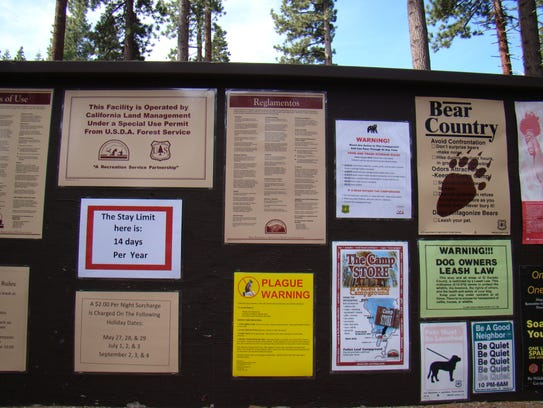 Signs at Fallen Leaf Campground include a bright yellow