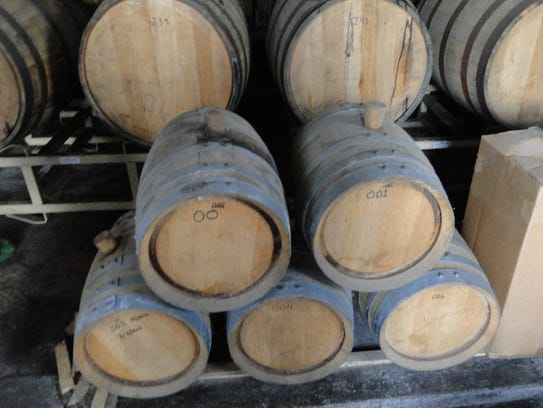 White oak barrels, made from Wisconsin lumber, are