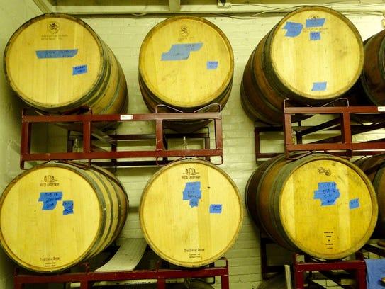 Barrels of Vino Degli Amici's 2016 vintage waiting