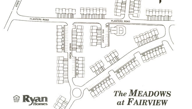 A drawing identifying the original plan for the Meadows of Fairview town home community.