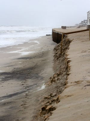 MARK R. SULLIVAN High winds and a storm surge from a Nor'easter blow in on the beach at Brick Beach III in Brick on Sunday October 4, 2015. High winds and a storm surge from a Nor'easter blows in on the beach at Brick Beach III in Brick on Sunday October 4, 2015