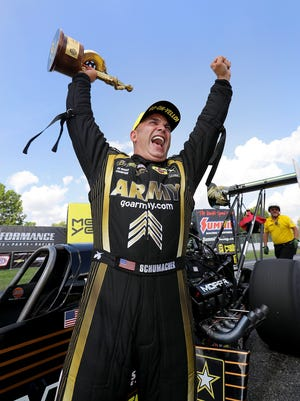 Top Fuel driver Tony Schumacher celebrates winning the Chevrolet Performance NHRA U.S. Nationals Monday, September 5, 2016, afternoon at Lucas Oil Raceway in Brownsburg. Schumacher defeated Steve Torrence in the finals.