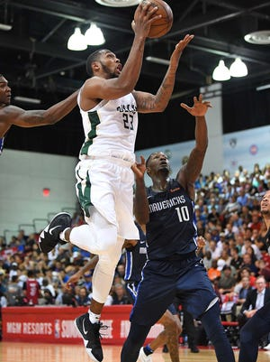 Bucks guard Sterling Brown (shown in Sunday's game) against the Mavericks, scored 27 points on Monday night.