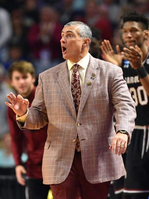 South Carolina Gamecocks head coach Frank Martin reacts during the first half against the Duke Blue Devils in the second round of the 2017 NCAA Tournament.