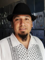 Musician and drum teacher Javier Tamayo, pictured here at Cesar Chavez Elementary School in Salinas.