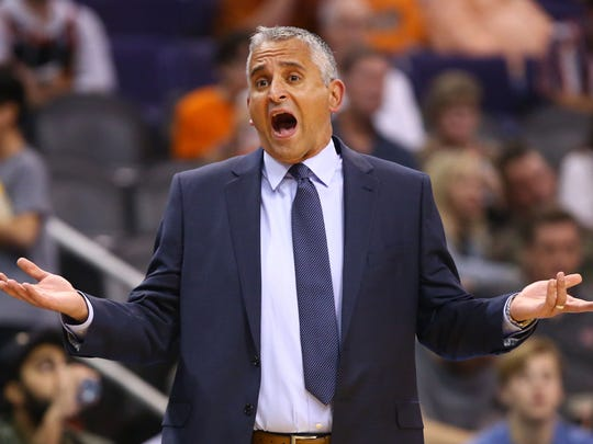 Phoenix Suns head coach Igor Kokoskov reacts after receiving a technical foul against the Lakers in the second half on Mar. 2, 2019, at Talking Stick Resort Arena in Phoenix, Ariz.