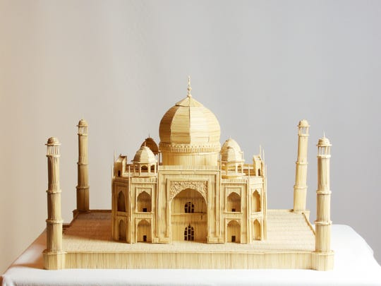 """Stan Munro's""""Taj Mahal"""" was reproduced entirely from toothpicks and Elmer's Glue; it's on a 1:164 scale."""