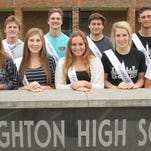 The Brighton High School homecoming court is, from front left, freshman Payton Cole, junior Grace VanKannel, seniors Ashlyn Umbarger, Kelsey Wisniewski and Grace Arnold, and sophomore Grace Bautch; and back row from left, freshman Keenan Stolz, junior Trevor Hopman, seniors Donnie Carruthers, Nicolo Burger and Nikolas Findig, and sophomore Jacob Innes.