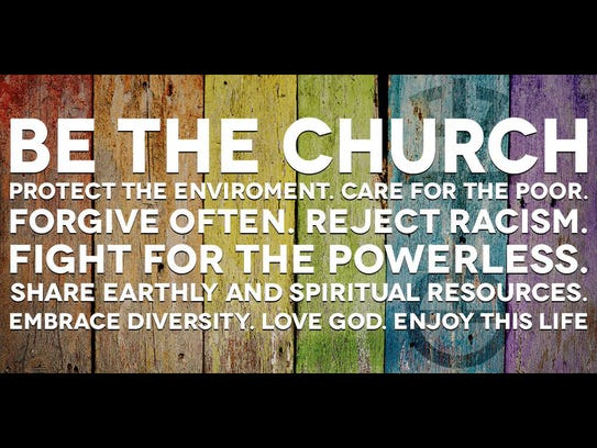 A sign on the Ames United Church of Christ Facebook