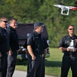 Wayne Township Fire Department fighters train on drones at the Wayne Township Fire Department Educational Complex, Thursday, September 10, 2015.