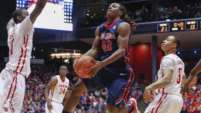 DAYTON, OH - DECEMBER 30: Stefan Moody #42 of the Mississippi Rebels drives to the basket against the Dayton Flyers at UD Arena on December 30, 2014 in Dayton, Ohio. (Photo by Michael Hickey/Getty Images)