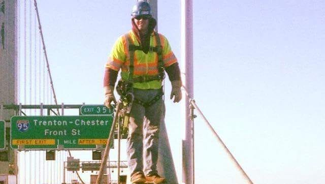 Ironworker Walter F. Lenkowski III, 25, of Mantua, died June 5 when he fell from a tower on the Delair Memorial Drawbridge in Pennsauken on to the rail tracks below. This photo shows him on another job for Ironworkers Local 399.