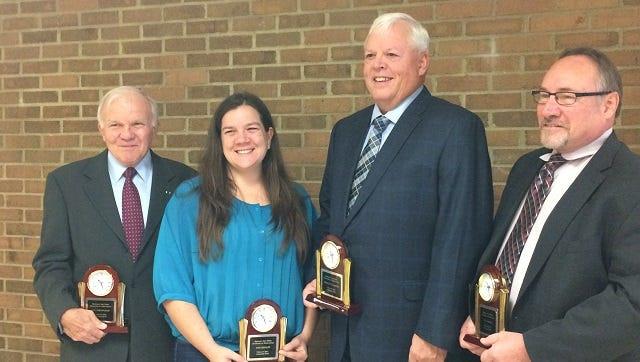 The 2016 Spencer-Van Etten Graduates of Distinction are, from left, Col. William A.J. Mackie, Eva Koehler, Bradley Van Riper and Bob Fontana. They were honored Nov. 10 at the SVE High School.