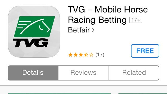 A screen shot of the TVG app in the Apple App Store.