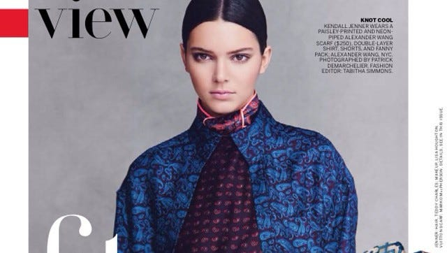"""Kendall Jenner poses for """"Vogue"""" magazine."""