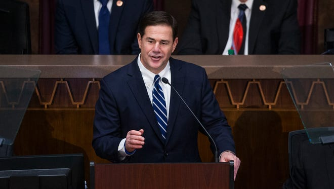 Gov. Doug Ducey delivers his State of the State address in the House of Representatives at the Capitol, Monday, January 8, 2018.