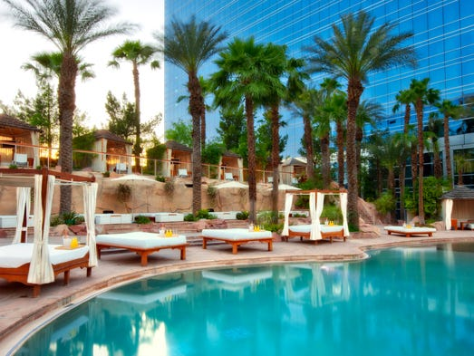 Locals and visitors can cool off at the Hard Rock Hotel and Casino's tropical pool area.