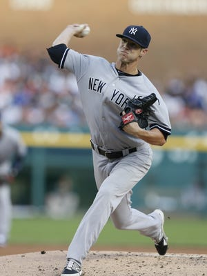 New York Yankees pitcher Shane Greene throws against the Detroit Tigers on Aug. 27, 2014.