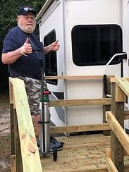 Bob Troop giving thumbs up to the half stairs Ability